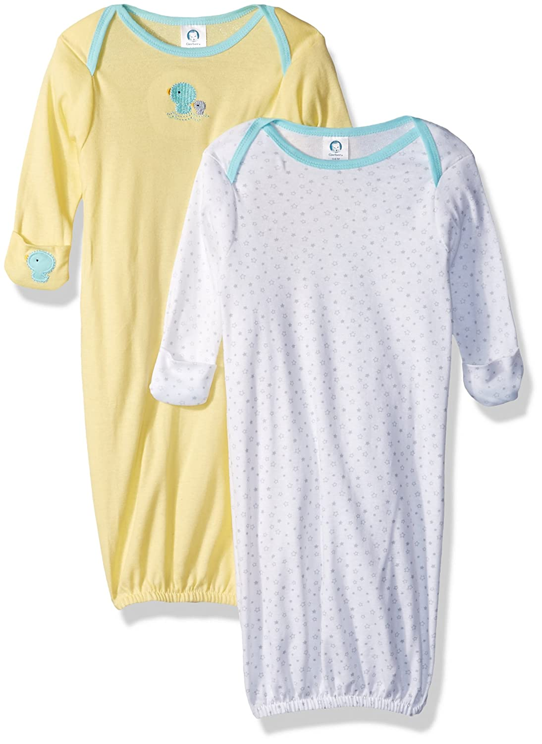 Amazon.com: Gerber Baby Infant 2 Pack Gown, New Duck, 0-6 Months ...