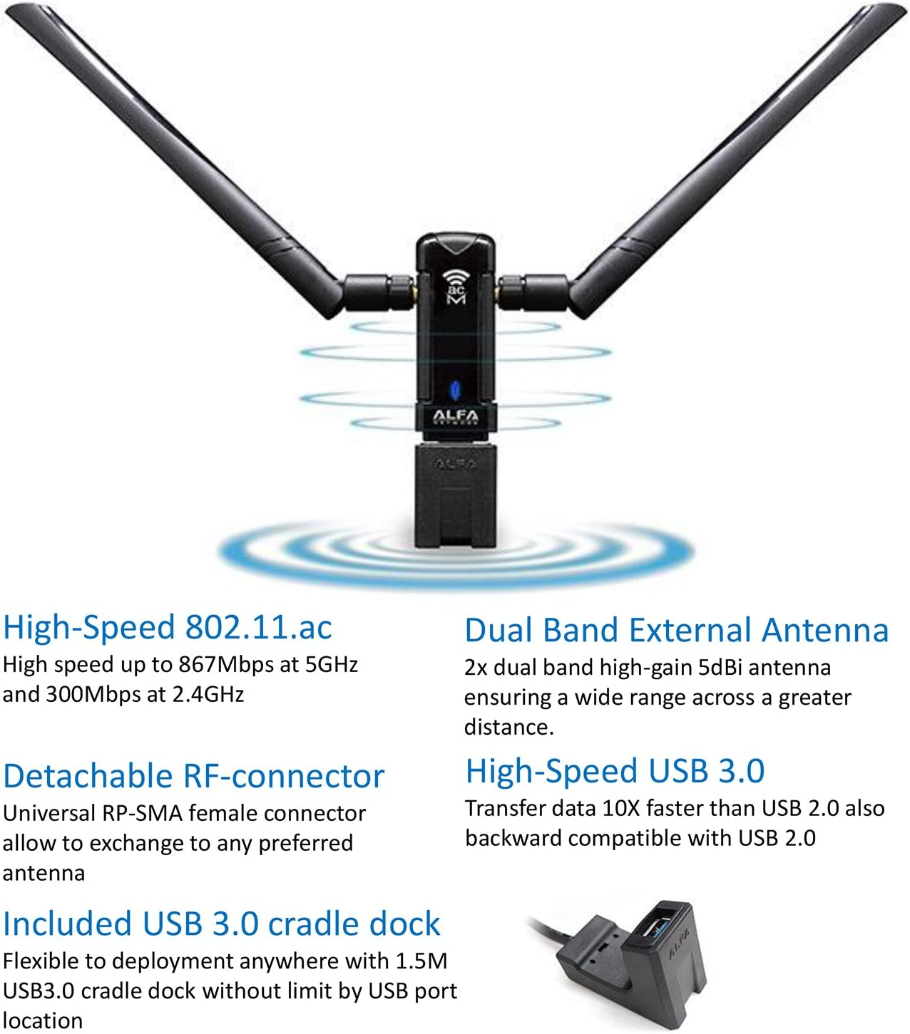 Alfa Remote Range Dual Band Ac1200 Wireless Usb Computers Accessories