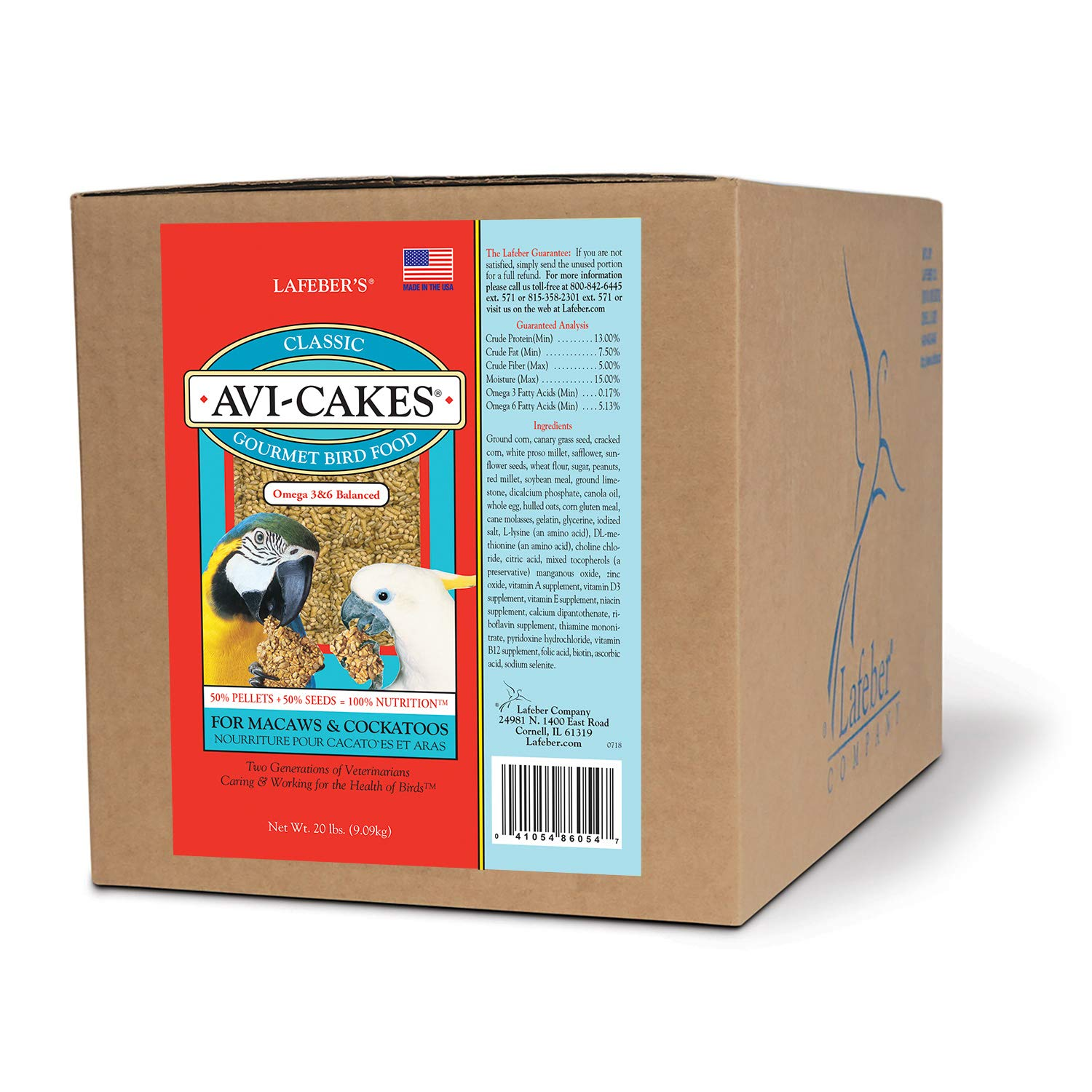LAFEBER'S Classic Avi-Cakes Pet Bird Food, Made with Non-GMO and Human-Grade Ingredients, for Macaws & Cockatoos, 20 lbs by LAFEBER'S