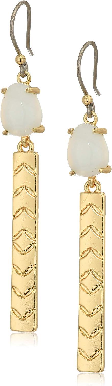 Lucky Brand Jewelry - Pendientes de lágrima con piedra de ágata blanca y barra, color dorado