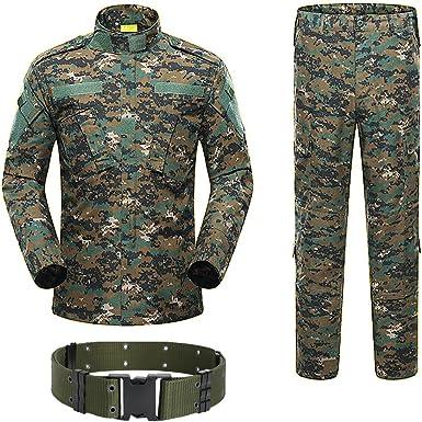 H World Shopping Militar Tactico Para Hombre Caza Combate Bdu Uniforme Traje Camisa Y Pantalones Con Cinturon Digital Woodland Aor2 Amazon Es Ropa Y Accesorios
