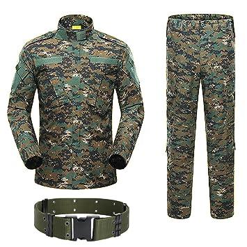 H Mundo Compras Militar Táctico De Caza para Hombre Traje de Combate BDU Uniforme – Camisa y Pantalones con cinturón Woodland Digital AOR2