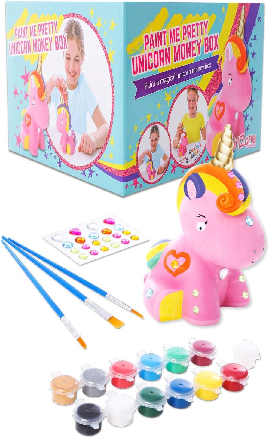 GirlZone Regalos para Niñas - Hucha Unicornio para Pintar - Kit Pintura para Niñas y Accesorios Infantiles -Pinceles, Colores y Gemas - Regalo Original Cumpleaños y Fiestas