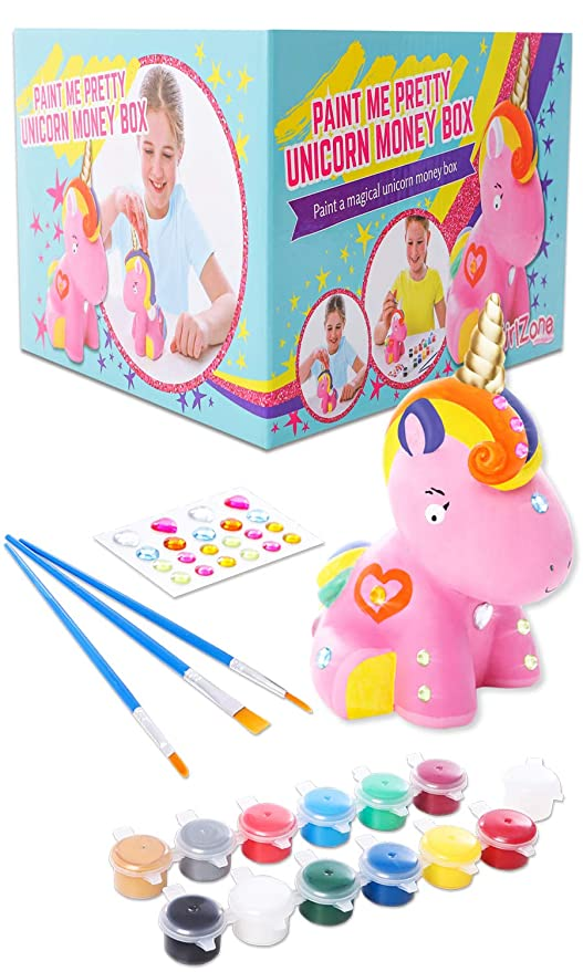 GirlZone Regalos para Niñas | Hucha Unicornio para Pintar | Kit Pintura para Niñas y Accesorios Infantiles |Pinceles, Colores y Gemas | Regalo ...