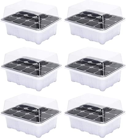 Pots de Semis Plastique, Siebwinn 18,7 X 14,5 X 11 Cm Kit Pour Semis Mini 6  Plateaux de DéMarrage Pour Semis 12 Cellules Pour Serre de Jardin Blanc