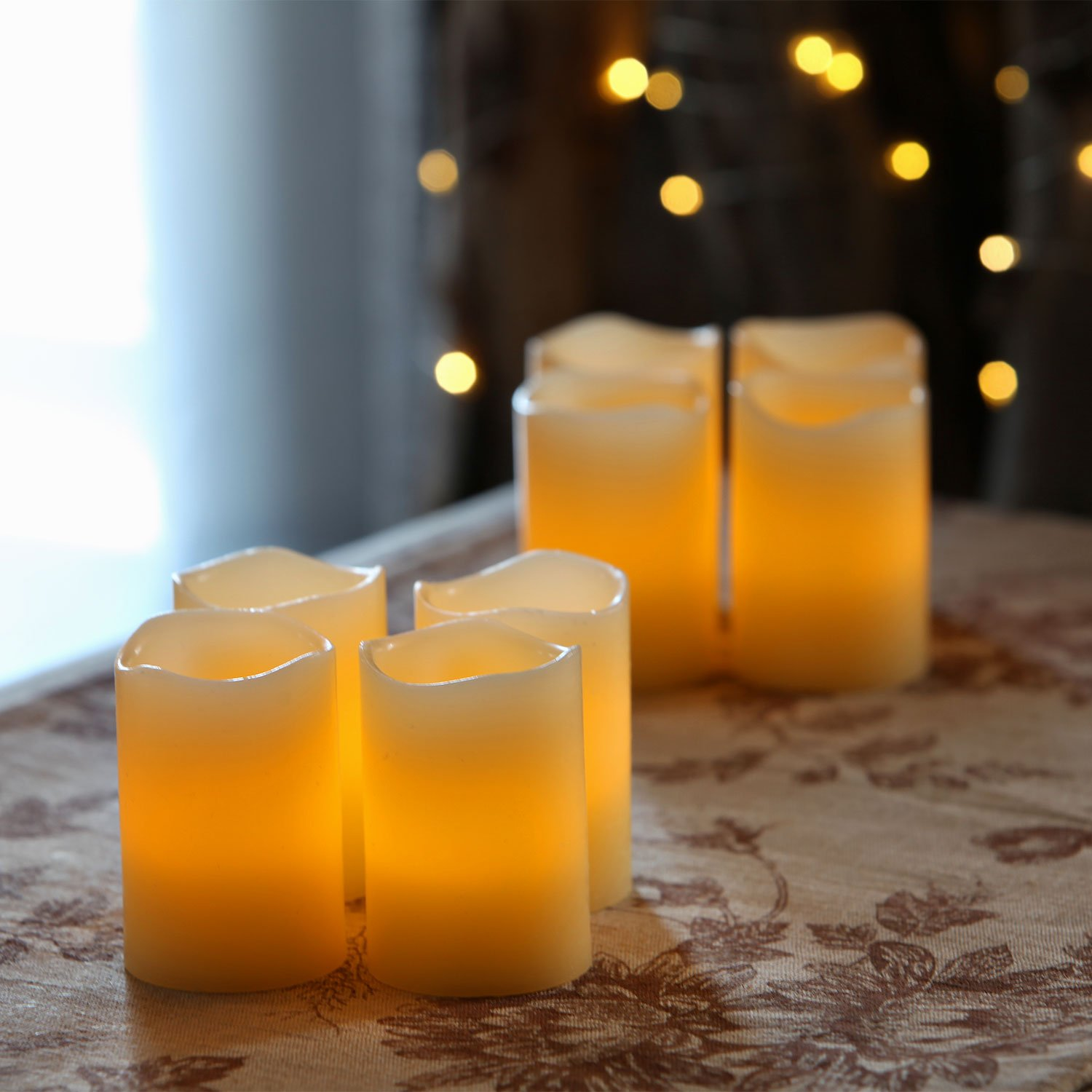 8 Ivory 3'' Flameless Votives with Warm White LEDs, Mini Wax Candles, Melted Edge, Batteries Included by LampLust (Image #3)