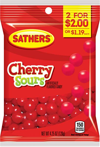 Amazon Com Farley S Sathers Candy Cherry Sours 3 6 Ounce Pack Of 12 Candy And Chocolate Grocery Gourmet Food