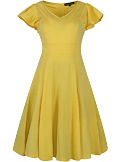 ca79c0ad6f Wellwits Women's Ruffle Sleeve Vintage 1940s Fit Flare Work Cocktail Dress
