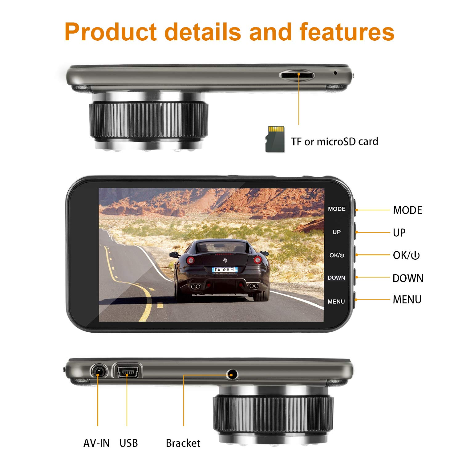 "Mi Yang FHD 1080P camera front and rear with night vision,2 channel 310/° wide angle lens 4/"" screen dashboard cam Dual dash car cam G-senor Parking monitor,motion detection.for trucks uber driver miyuog 4350447438"