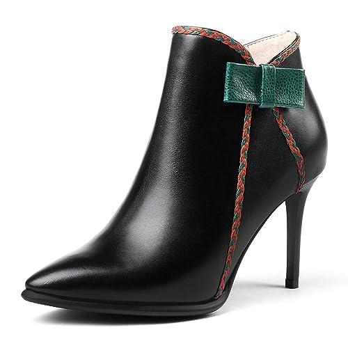 L@YC Mujer Botas PU Plataformas de Botines de Nieve Originales Rodilla Alto Negro Tacones