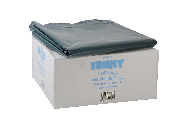 Funny AG-875 - Pack de 100 bolsas de basura, 240 l, tipo 80 ...