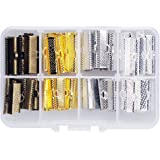 In A Box(120pcs/box) Kit with Mixed Color 20mm and 25mm Ribbon Bracelet Bookmark Pinch Crimp Clamp End Findings Cord Ends Fasteners Clasp Leather Crimp Ends Jewelry Making Findings