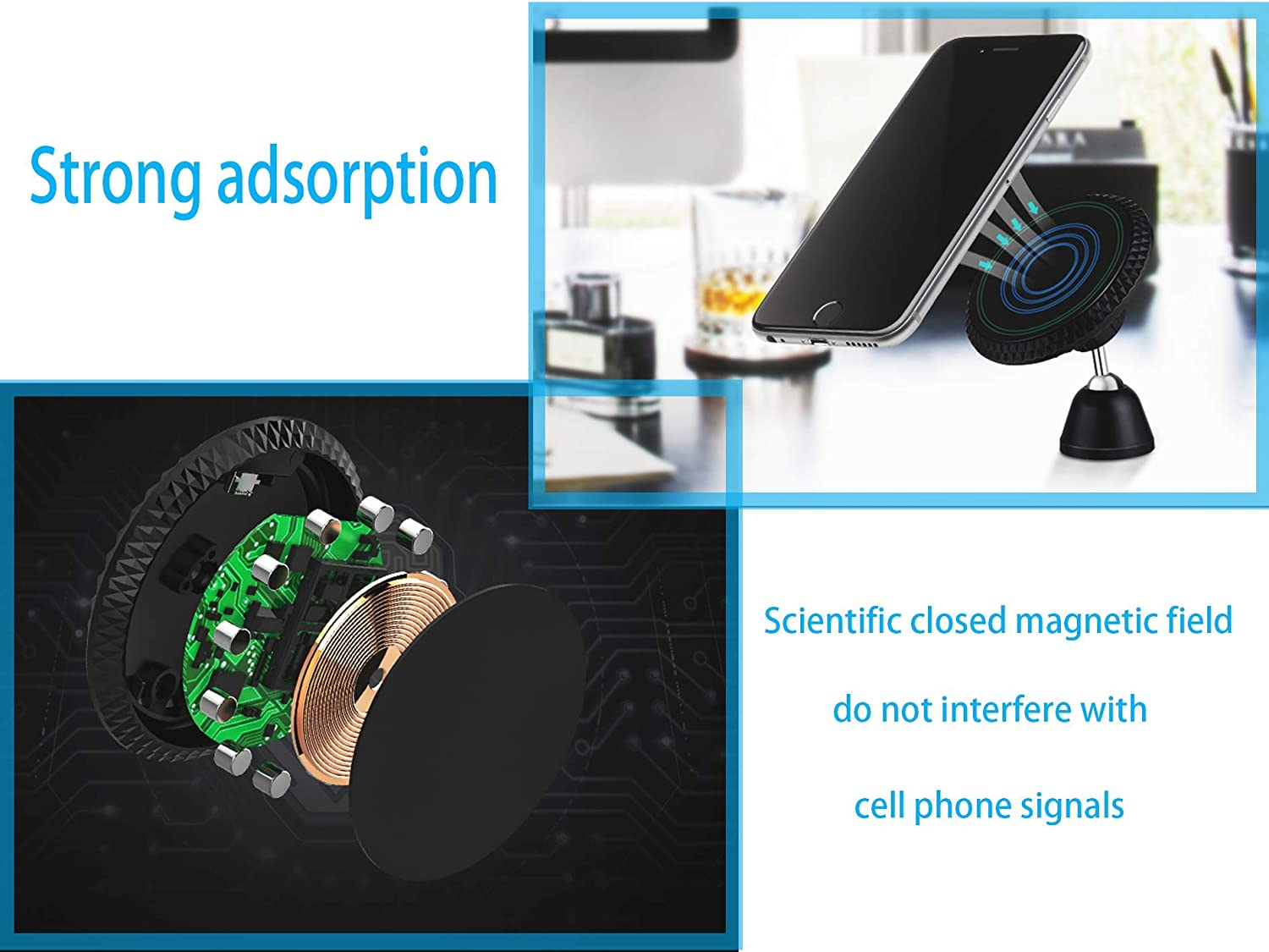 Qi Wireless Car Charger,Diamond Pattern Rounded Magnetic Air Vent Cell Phone Charger Mount Holder Mobile Navigation Bracket Rotate 720 Degrees Mini Portable Green Billow 4351513241