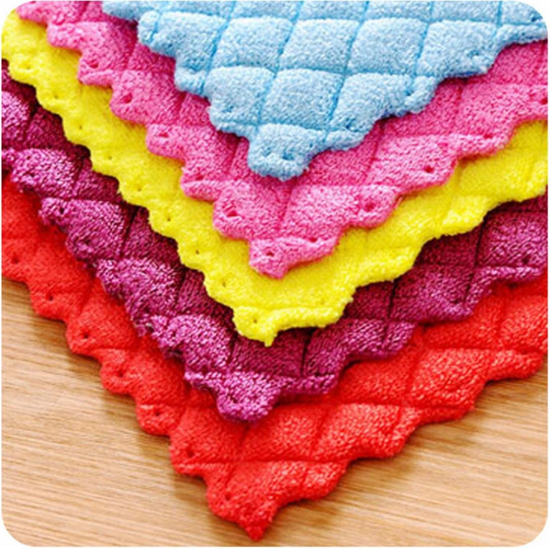 Anti-grease Bamboo Fiber Dish Cloth Cleaning Rags Washing Towel Scouring Pad