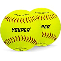 Youper Sports Practice Softballs, Official Size and Weight Softball for Softball Training - 2 Pack