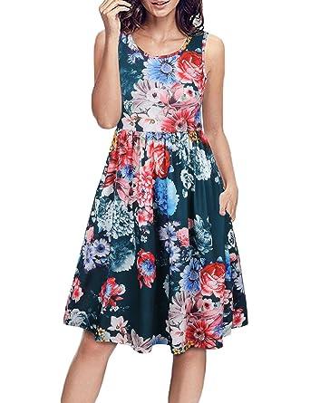 1a80dca95f Faddare Sleeveless Dresses for Women,O-Neck Floral Kee Length Dress,Green S