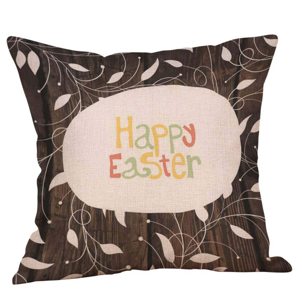 Weiliru Throw Pillow Covers Easter Motive Bunny Bottom Easter Easter Eggs Fresh Decor Pillowcases Polyester Square Hidden Zipper Home Cushion Decorative Pillowcase by Weiliru (Image #2)