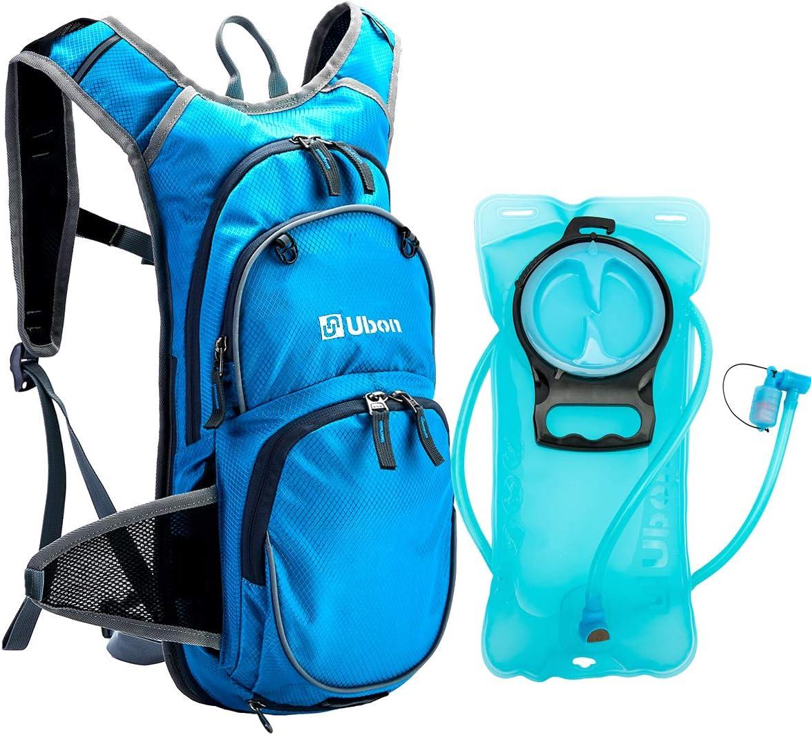Ubon Lightweight Hydration Backpack with 2L BPA Free Bladder and Helmet Holder