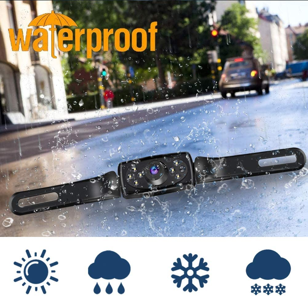 IP68 Waterproof Car Rear View Backup Camera LED Light Night Vision License Plate Camera System Kit for Cars,Trucks,Vans,Campers Kecxny HD Wired Backup Camera with 4.3 Inch Monitor