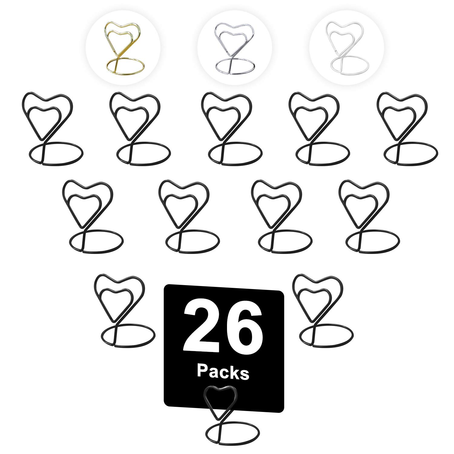 Urban Deco 26 Pieces Wire Place Table Card Holder Metallic Black Heart Card Holders for Photos, Food Signs, Memo Notes, Weddings, Restaurants, Birthdays.