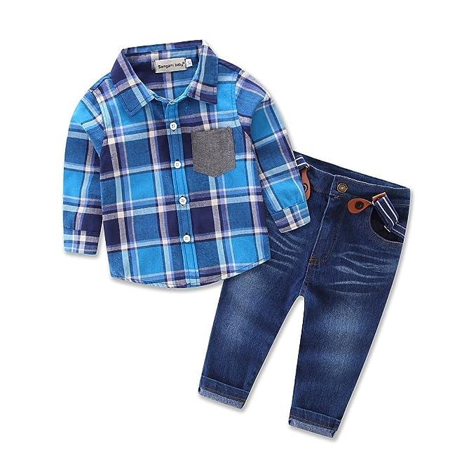 2f48104ca7 Blue Check Tshirt Denim Pants Children Boy Clothes Suit Outfits Baby Clothes:  Amazon.co.uk: Clothing