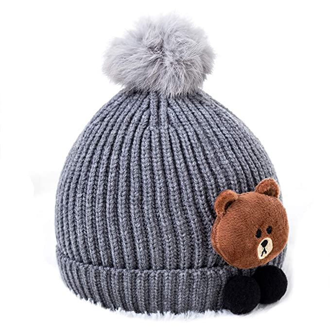 16e6fa46 Amazon.com: X.NAVY Baby Hat Cute Bear Toddler Earflap Beanie Infant Boys Girls  Hats Warm for Fall Winter (Gray): Clothing