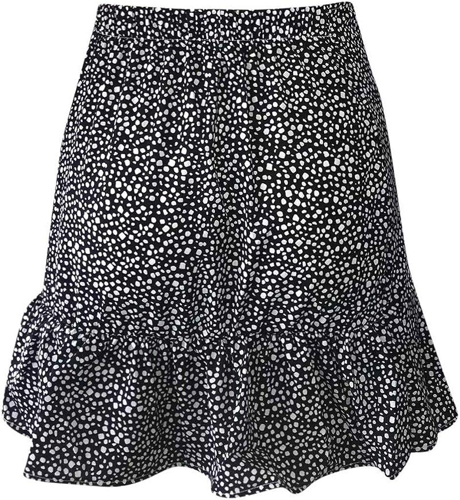 Holywin Jupe Courte Femme Jupe pliss/ée d/écontract/ée /à Taille Haute