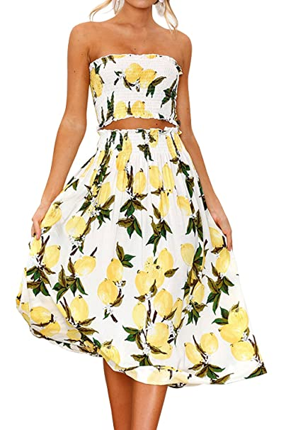 9bea9ceab2 Walant Womens Sexy Floral Crop Top Midi Skirt Two Piece Backless Tube  Summer Dress at Amazon Women s Clothing store
