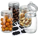 Wide Mouth Mason Jars,OAMCEG 4-Piece 34oz Airtight Glass Preserving Jars with Leak Proof Rubber Gasket and Clip Top Lids, Per