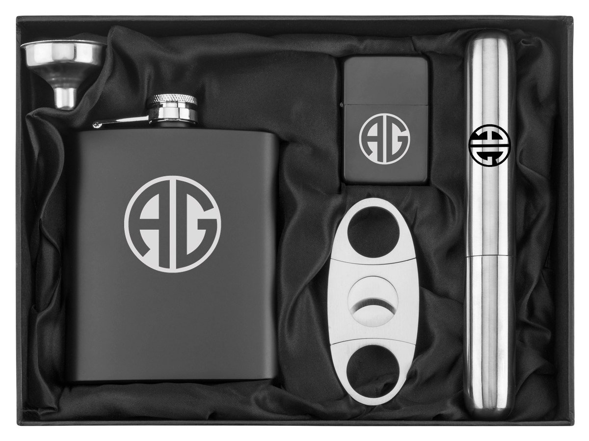 Custom Monogram Engraved 7 oz Flask Funnel Cigar Cutter Lighter Stainless Steel Gift Box Set Personalized