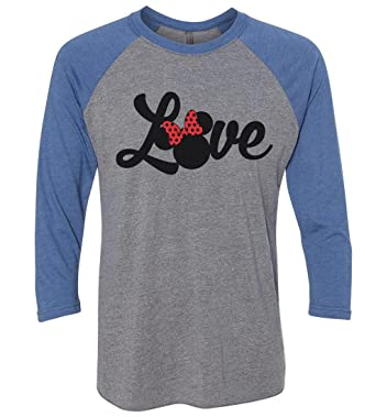 "0592e99b Amazon.com: Funny Threadz Womens Minnie Mouse Raglan "" Love "" Disney World 3 /4 Sleeve Baseball Tee Gift: Clothing"