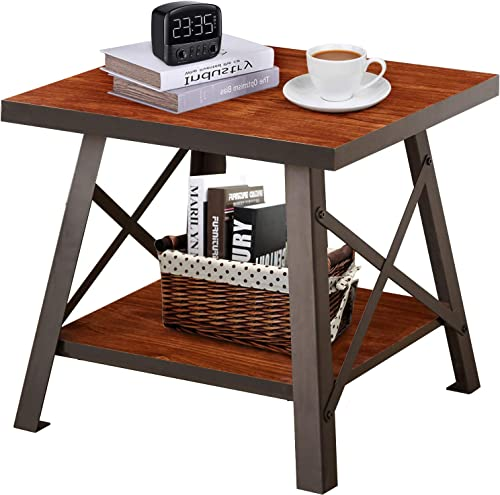 YOUNIS Industrial Coffee Table for Living Room, 2-Tier Coffee Table with Storage Shelf, Rustic Brown Coffee Table Wood Top Accent Furniture Home Decor with Metal Frame, Easy Assembly
