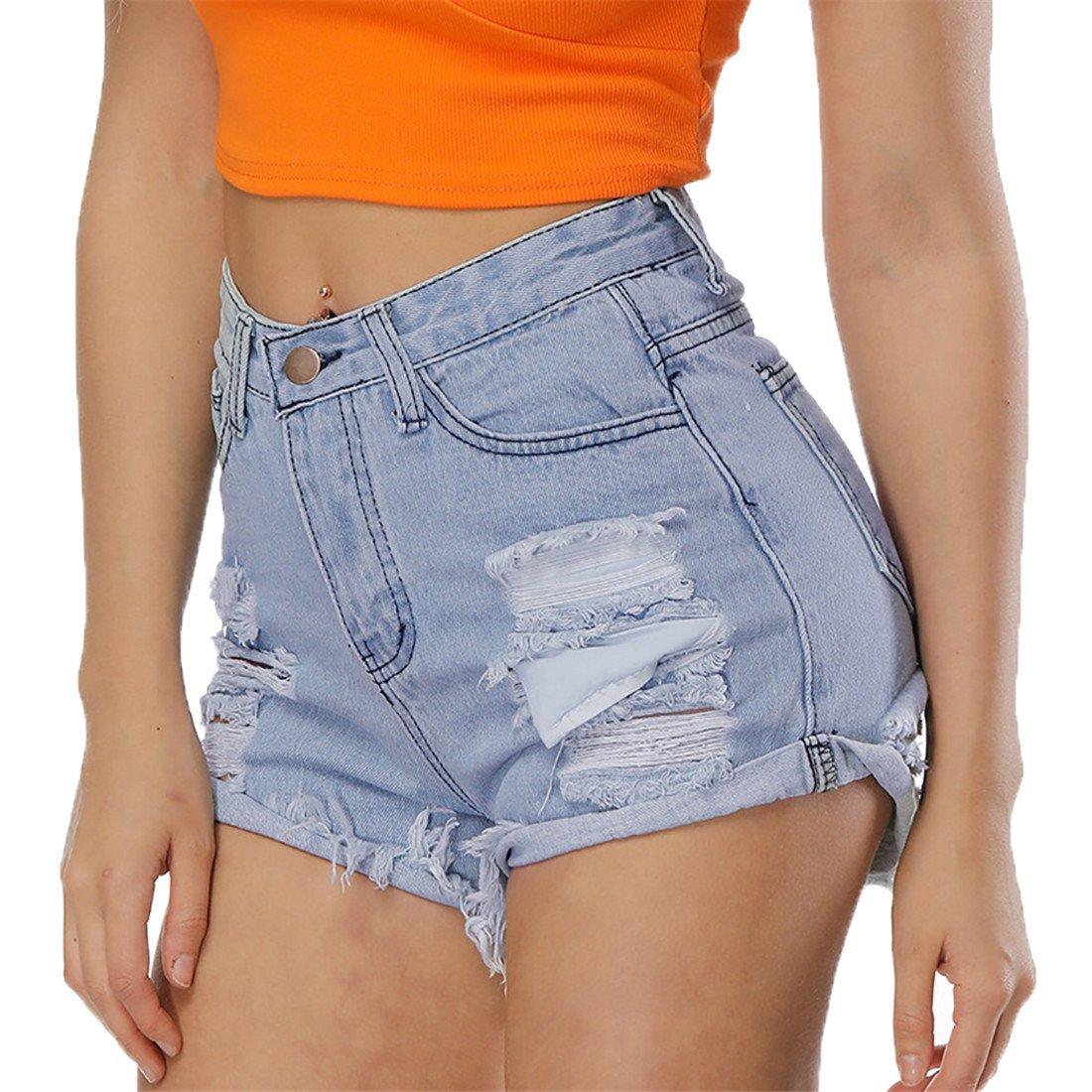 05e9b3e74e NEXLOMOS Women's Juniors High Waisted Ripped Frayed Raw Hem Jean Denim  Shorts