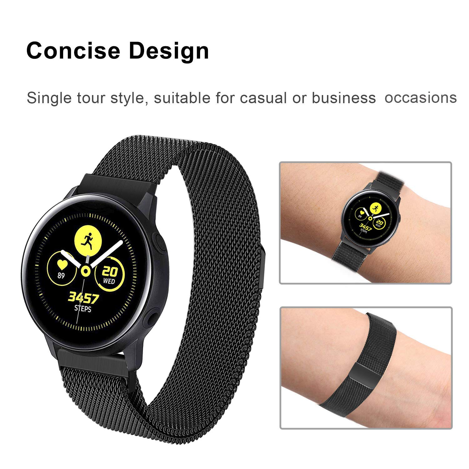 for Galaxy Watch Active 40mm Bands, TRUMiRR 20mm Magnetic Fashion Watchband Stainless Steel Strap Bracelet Replacement for Samsung Galaxy Watch Active ...