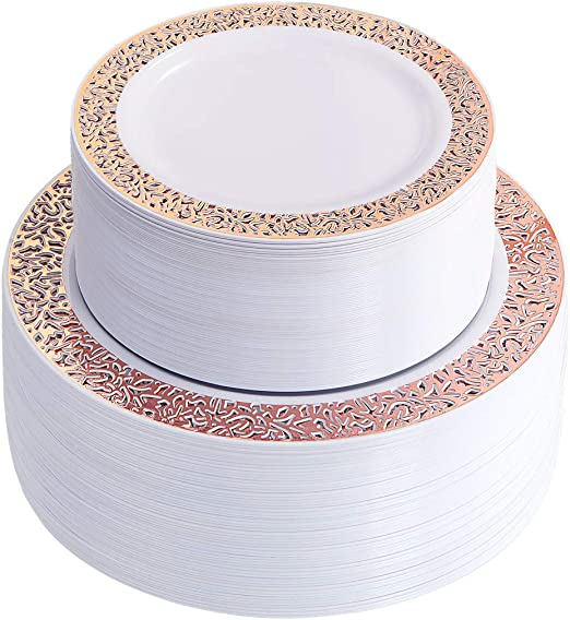 100 Platos Desechables Elegantes Decorativos Para Fiesta Boda Oro Rose Gold Set