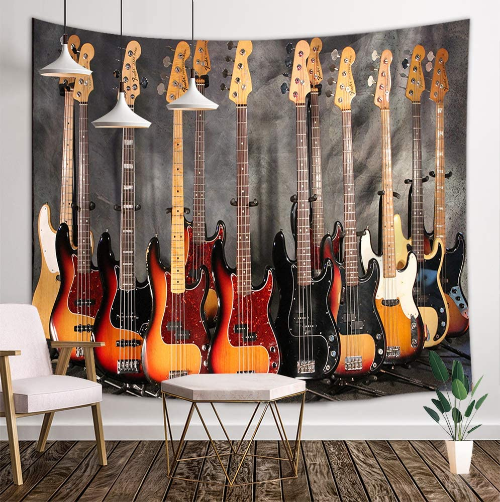 NYMB Music Lover Tapestry Wall Hanging, Guitar Concert Instruments in Old Houses Hippie Art, Panels Bedroom Living Room Dorm, 71 X 60 Polyester Mandala Hippie Boho Style Blankets Home Art Decor