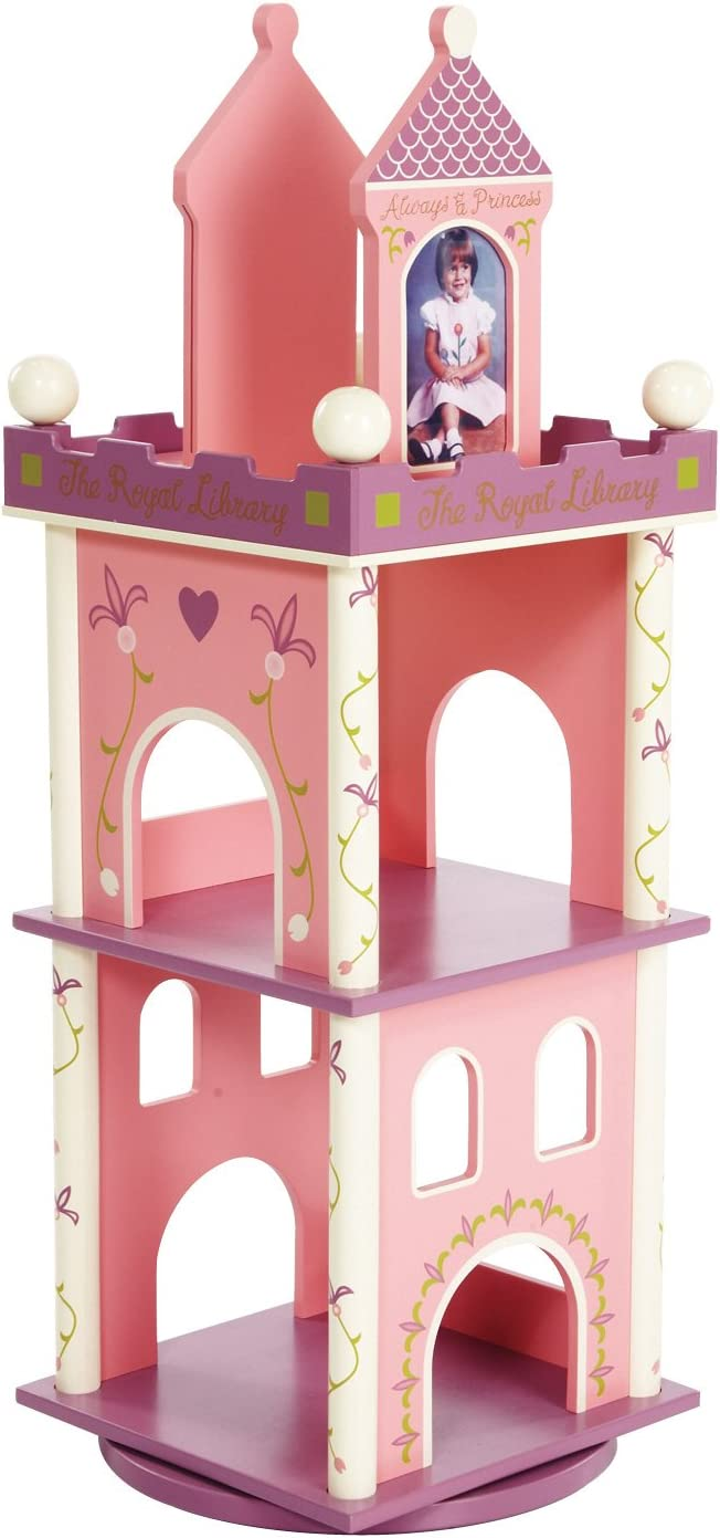 Wildkin Kids Princess Wooden Revolving Bookcase for Boys and Girls, Book Shelf Features Two Shelves and Photo Frame Bookends, Perfect for Bedrooms and Playrooms, Assembly Required
