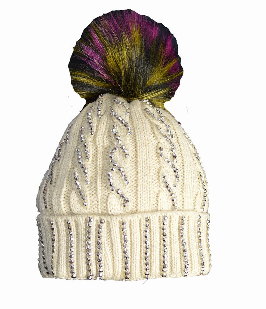 4f8decaae86 KGM Accessories Luxury Cable Diamante Hat with multi colour Fuax fur pom  (Beige)  Amazon.co.uk  Garden   Outdoors