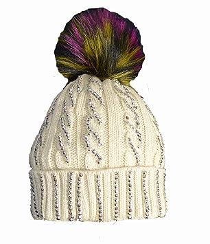 2721d81c552 KGM Accessories Luxury Cable Diamante Hat with multi colour Fuax fur pom  (Beige)  Amazon.co.uk  Garden   Outdoors