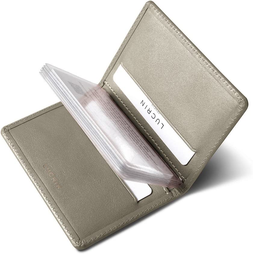 Lucrin - Slim Credit Cards Leathe Holder Taupe Max 70% OFF Genuine Light 5% OFF