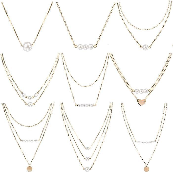 meekoo 9 Unidades de Collar de Gargantilla de Perlas en Capas Colgante Mini Perlas Collar para Mujer niñas usando: Amazon.es: Joyería