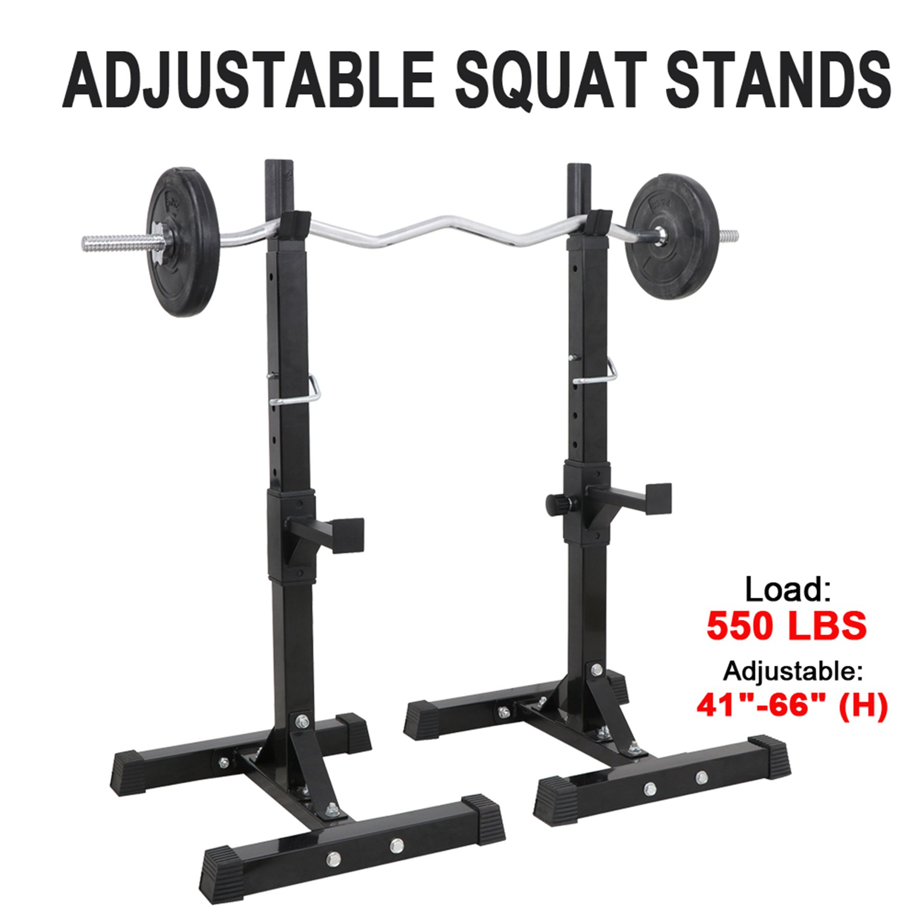 F2C Max Load 550Lbs Pair of Adjustable 41''-66'' Rack Sturdy Steel Squat Barbell Free Bench Press Stands Gym/Home Gym Portable Dumbbell Racks Stands (one Pair/Two pcs) by F2C (Image #3)
