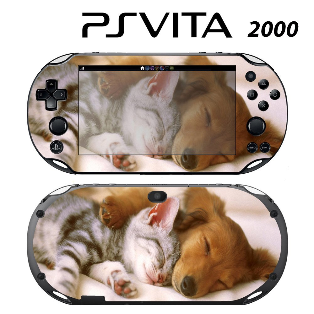 Decorative Video Game Skin Decal Cover Sticker for Sony PlayStation PS Vita Slim (PCH-2000) - Sleeping Puppy Kitty