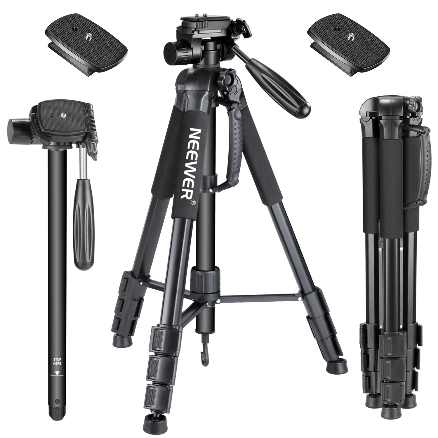 Neewer 70inches/177centimeters Aluminium Camera Tripod Monopod with 3-Way Swivel Pan Head,2-Pack Quick Shoe Plate,Bag for DSLR Camera,DV Video Camcorder,Load up to 8.8 pounds/4 kilograms Black(SAB264) by Neewer
