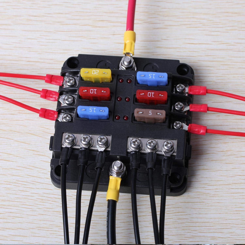 ENDARK Kfz Sicherungskasten Van 6 Fach Sicherungshalter mit LED-Anzeige Negativen Bus f/ür Auto Suv Boot LKW Kfz Sicherungshalter Flachsicherung