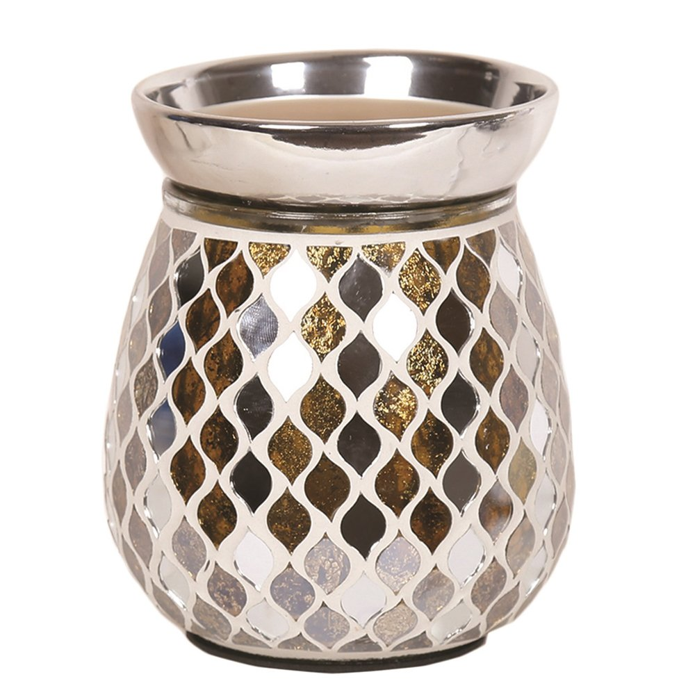 Astin of London - Aroma Accessories Electric Gold Mirror Mosaic Wax Tart Melt Burner Lamp Hand Crafted Aroma Warmer