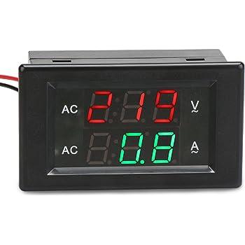yeeco digital ac voltmeter ammeter ac 80 300v 100a amp volt panel rh amazon com