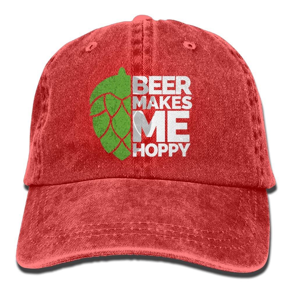 Men's Or Women's Beer Makes Me Hoppy Denim Fabric Baseball Hat Adjustable Trucker Cap