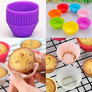 Foulon New Kitchen Cooks Microwave Ovens Silica Gel Round Mould Baking Mini Cake Mould Cups Cupcake Makers
