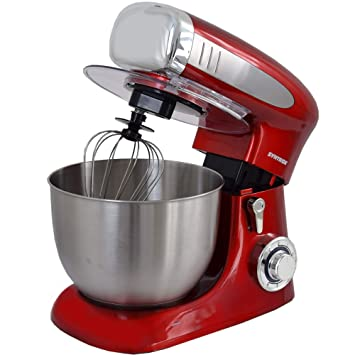 Syntrox Germany KM de 1300 W Red Robot de cocina eléctrica batidora para amasar, recipiente de acero inoxidable, 6,5 L, color rojo: Amazon.es: Hogar